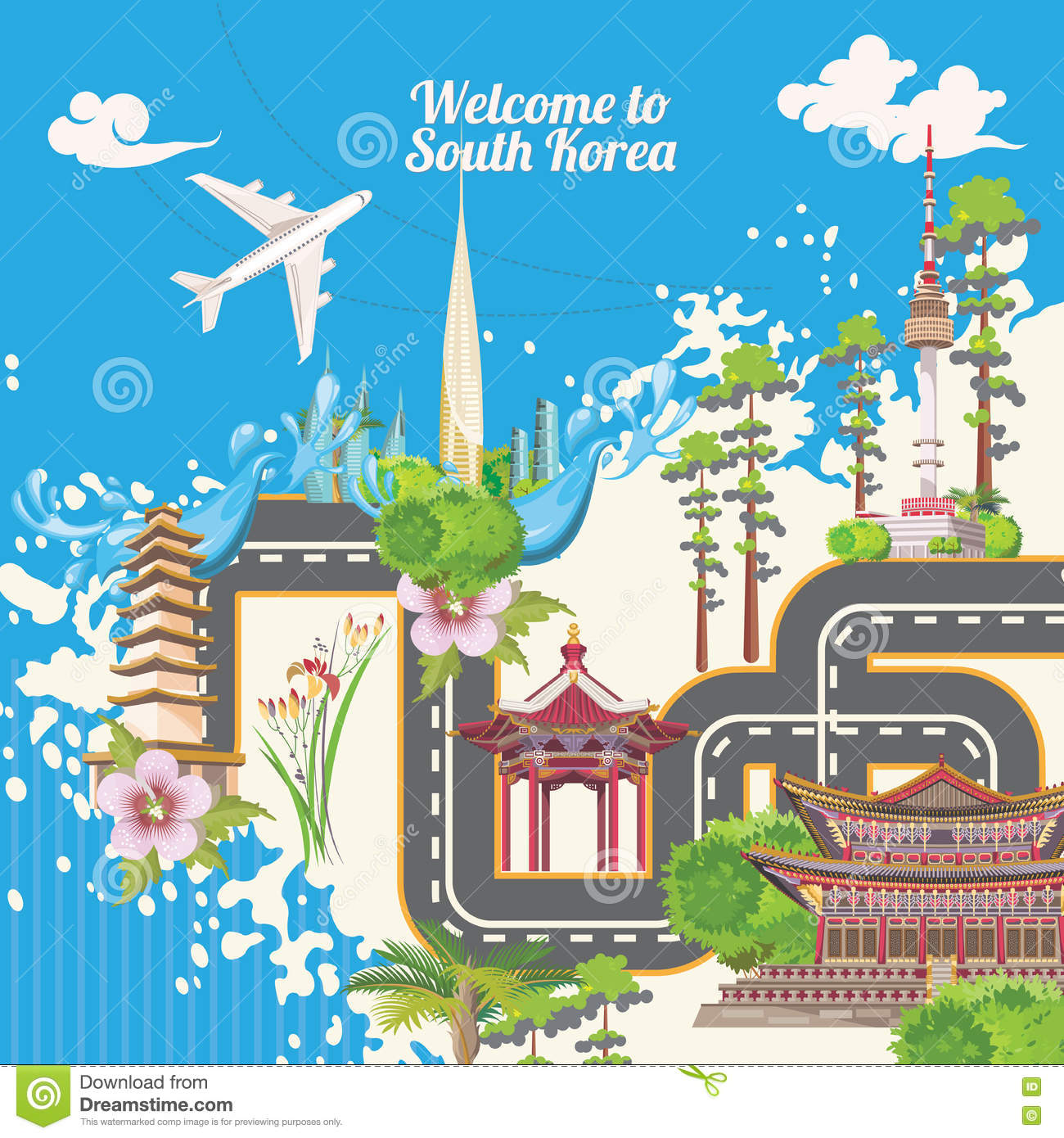 South Korea Travel Poster With Korean Map Part Korea Journey Banner