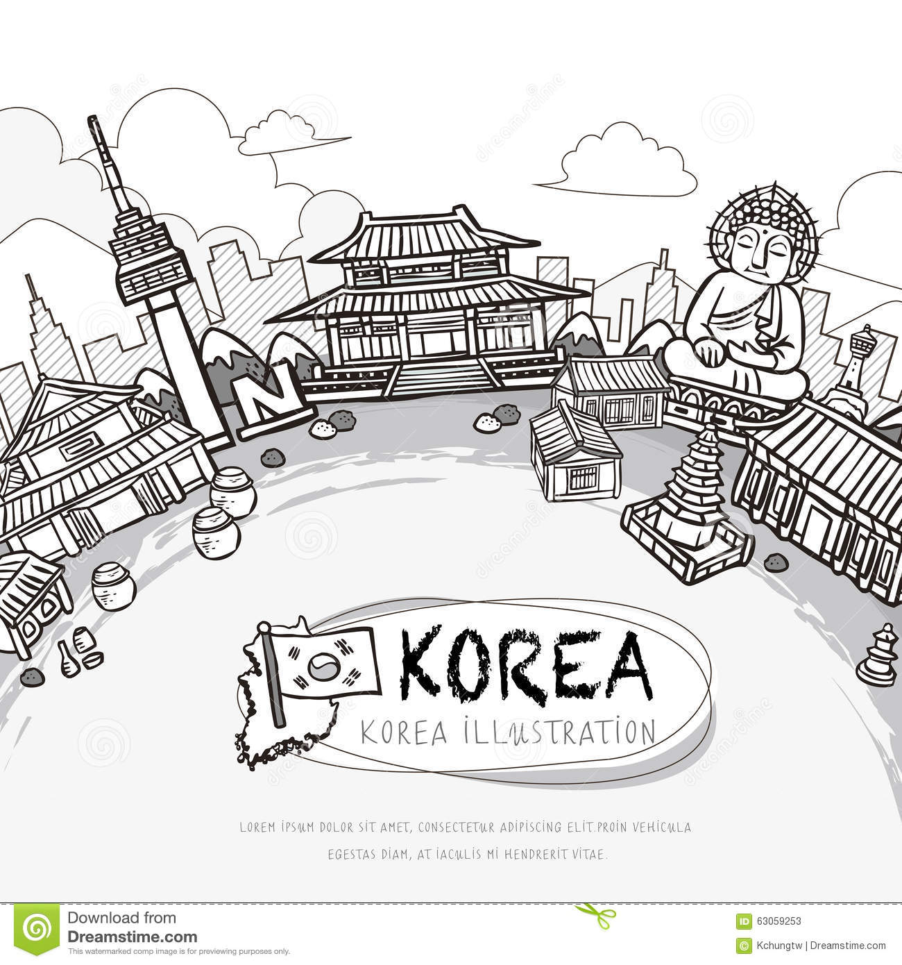 south korea coloring pages - south korea travel poster stock illustration image of