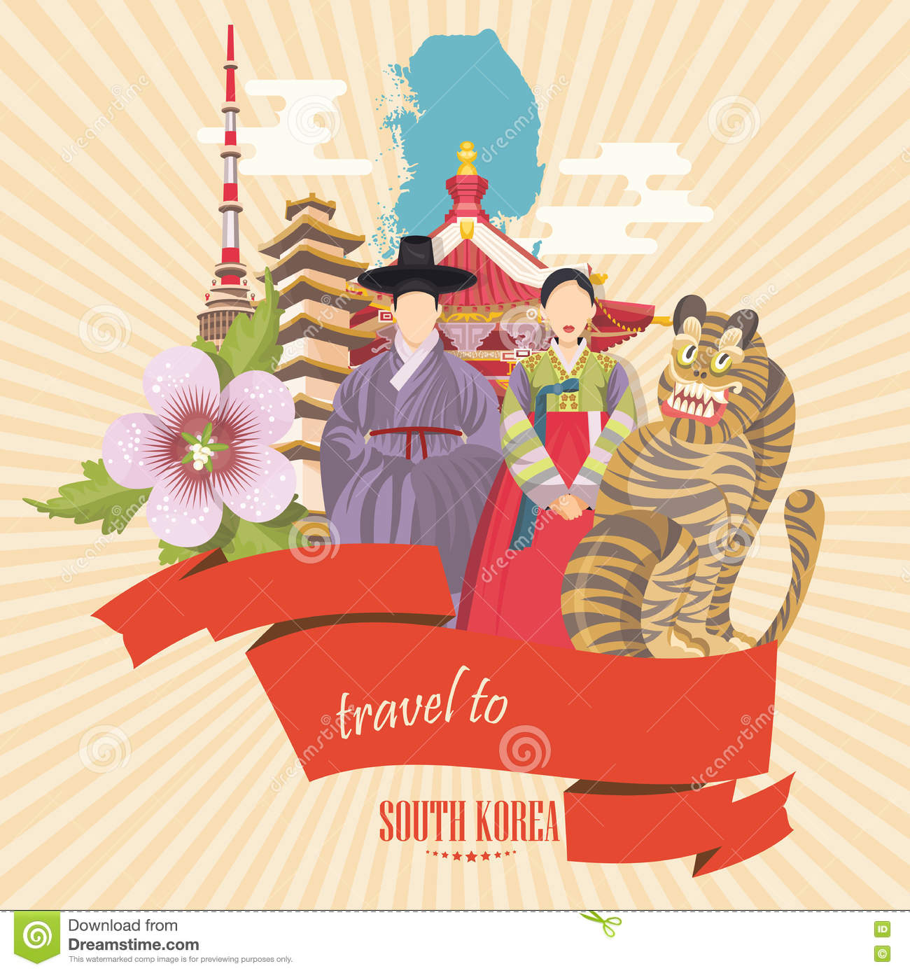 Korean poster design - South Korea Travel Poster With Pagodas Tradition Clothes And Signs Korea Journey Banner With Korean Objects