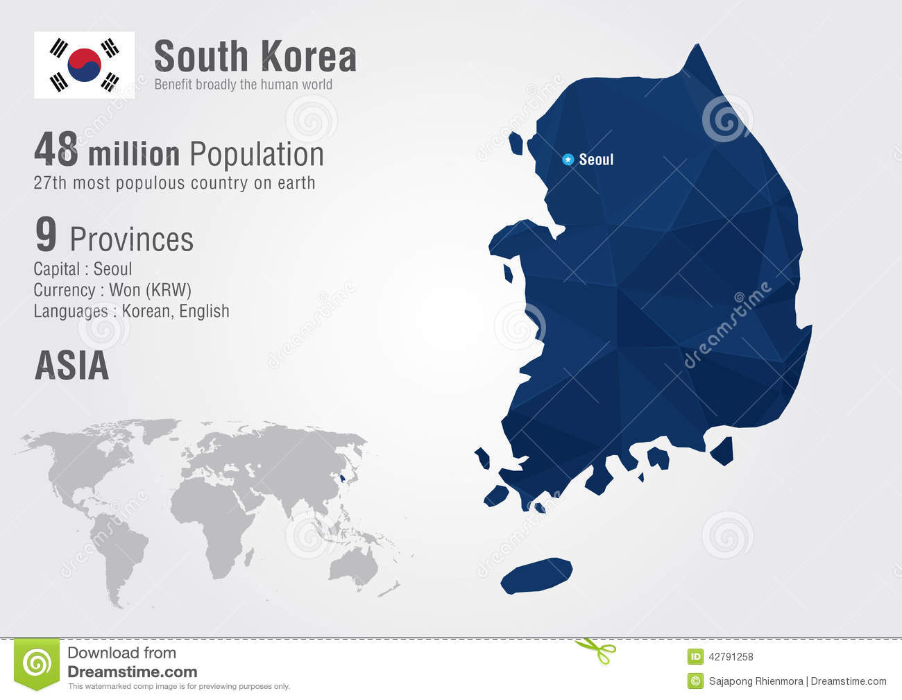 South Korea World Map With A Pixel Diamond Texture Stock Vector
