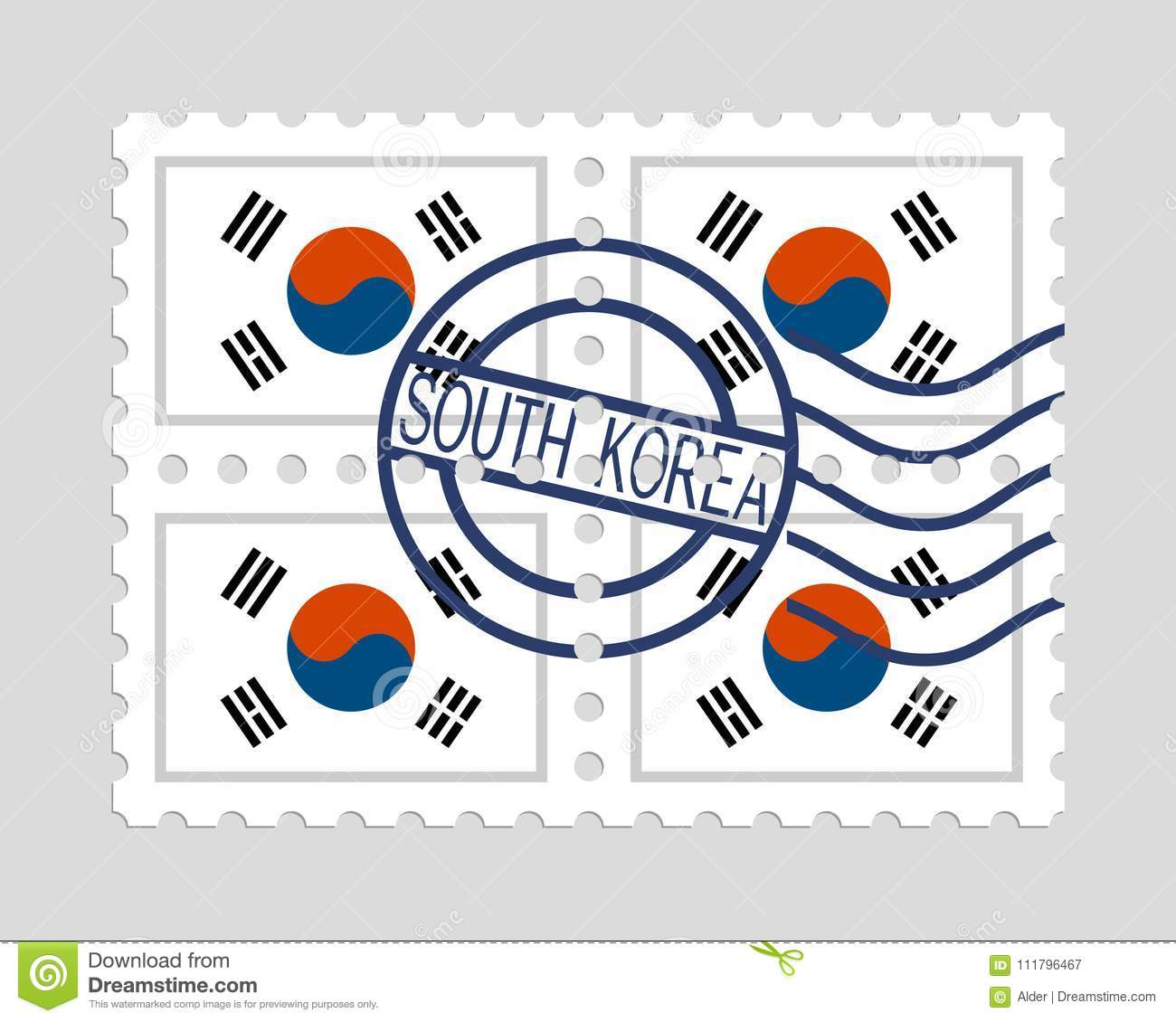 South Korean Flag On Postage Stamps Stock Vector