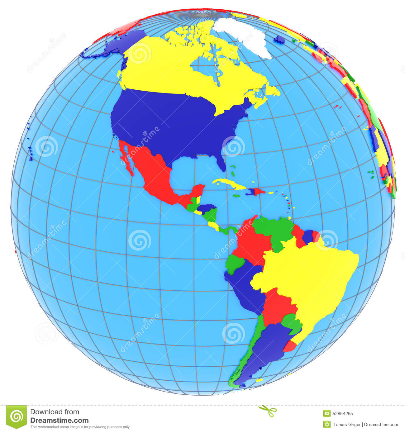 South And North America On The Globe Stock Illustration Image 52864255