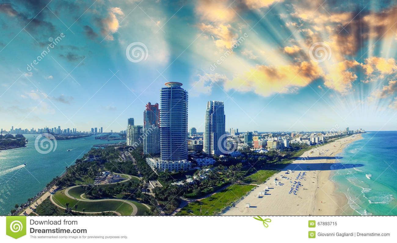 South Pointe Park and Coast - Aerial view of Miami Beach, Florid