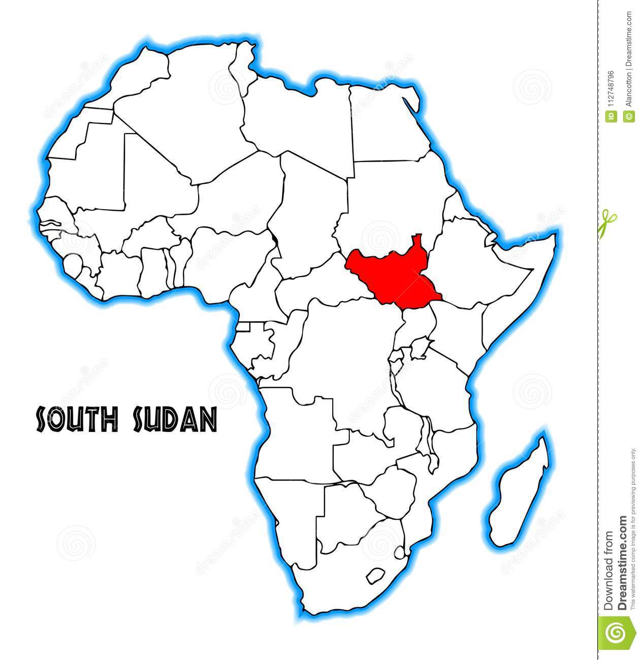 Africa Map With South Sudan.South Sudan Africa Map Stock Vector Illustration Of Vector