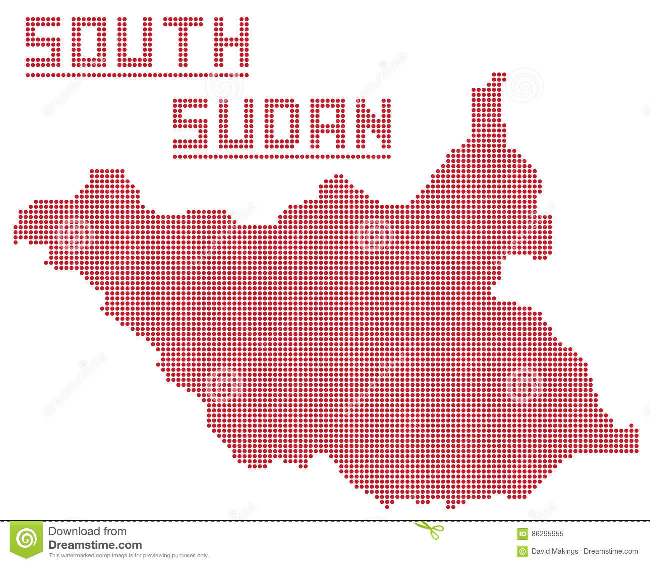 South Sudan Africa Republic Dot Map Stock Illustration ...