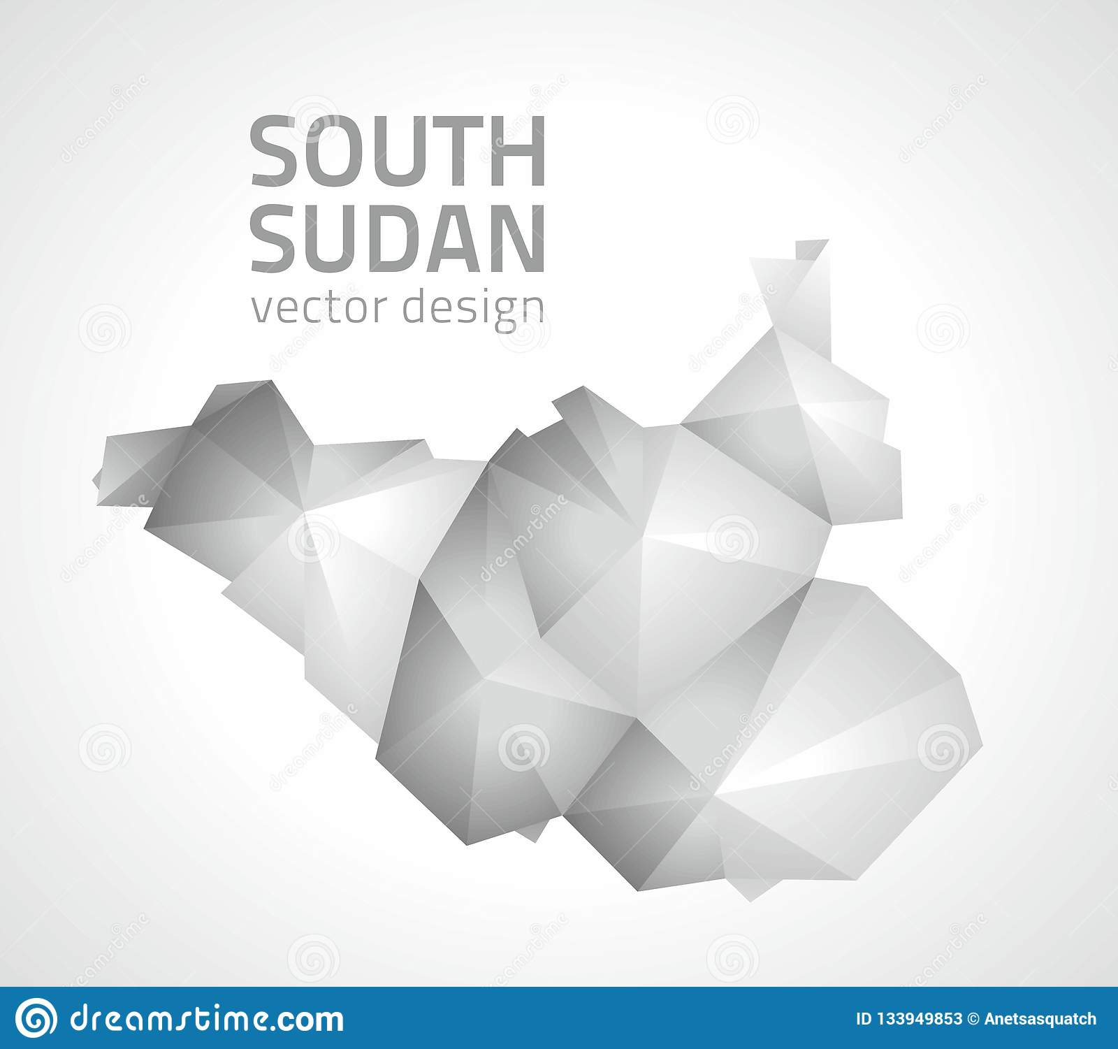 South Sudan Grey Vector Polygonal Map Od Africa Stock Vector