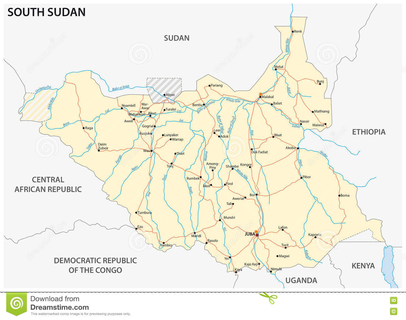 south sudan road map royalty free illustration