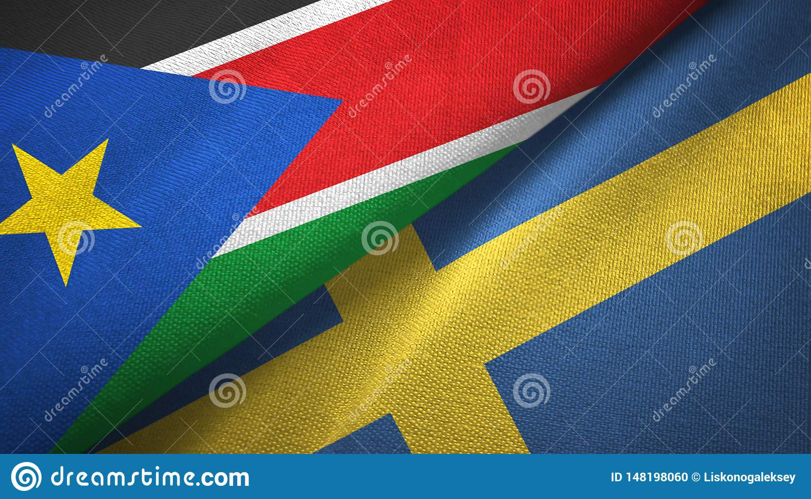 South Sudan and Sweden two flags textile cloth, fabric texture