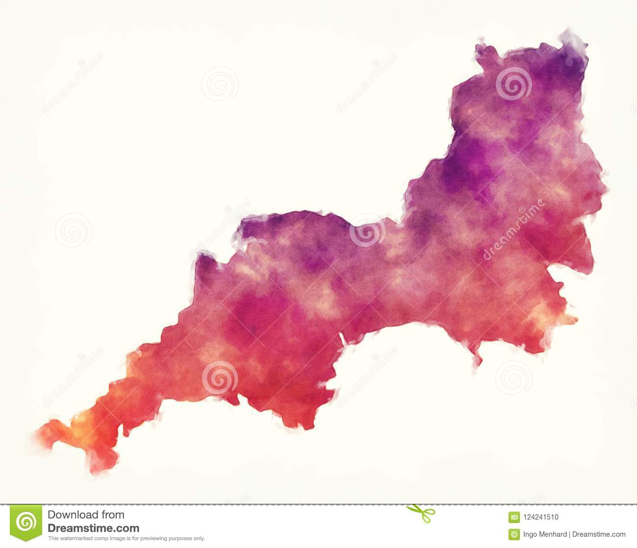South Of England Map Uk.South West England Uk Watercolor Map In Front Of A White Background