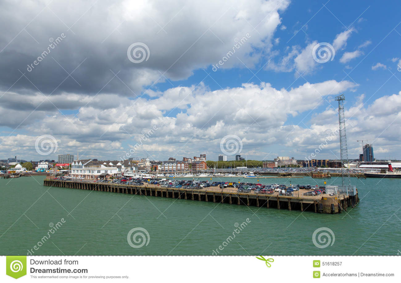 Southampton Docks On Calm Summer Day With Fine Weather