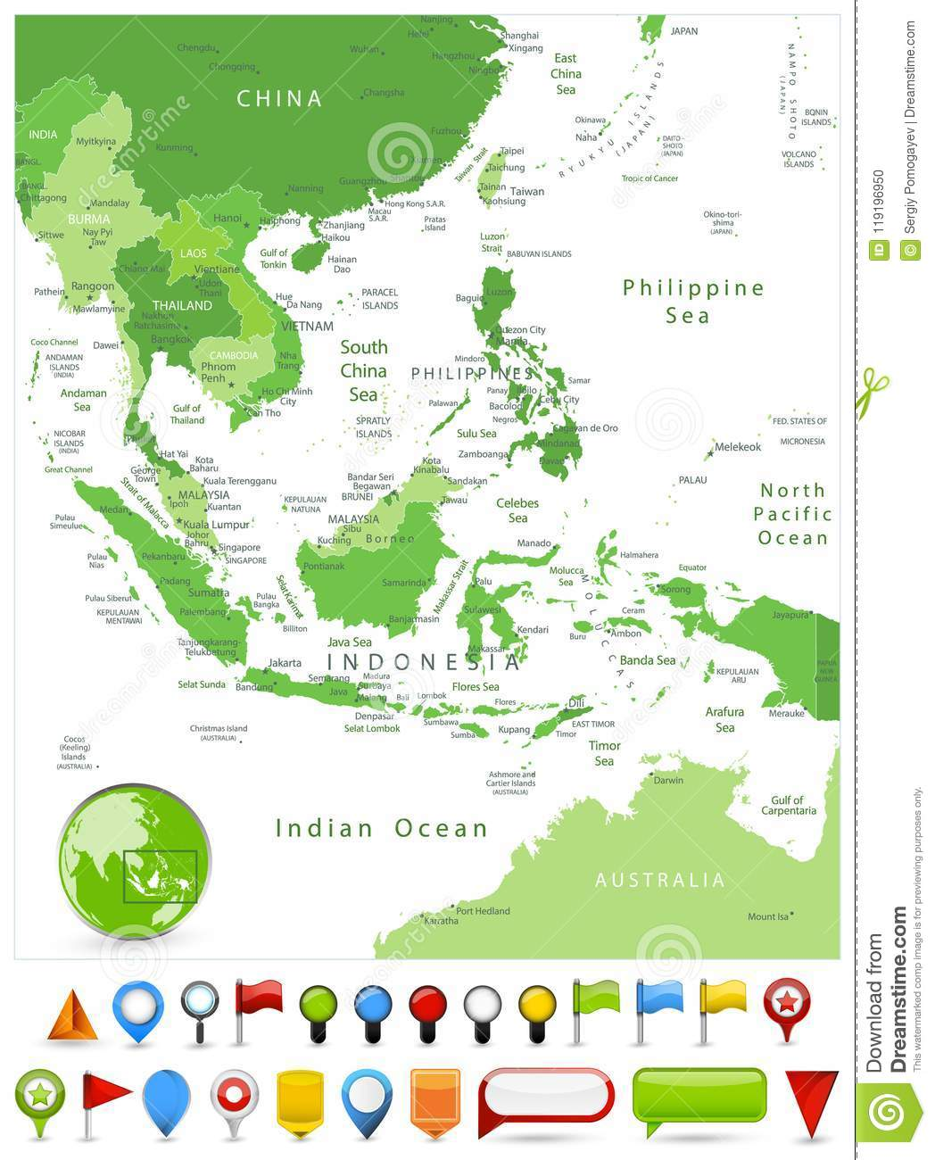 Map South East Australia.Southeast Asia Map Spot Green Colors And Glossy Icons Stock Vector