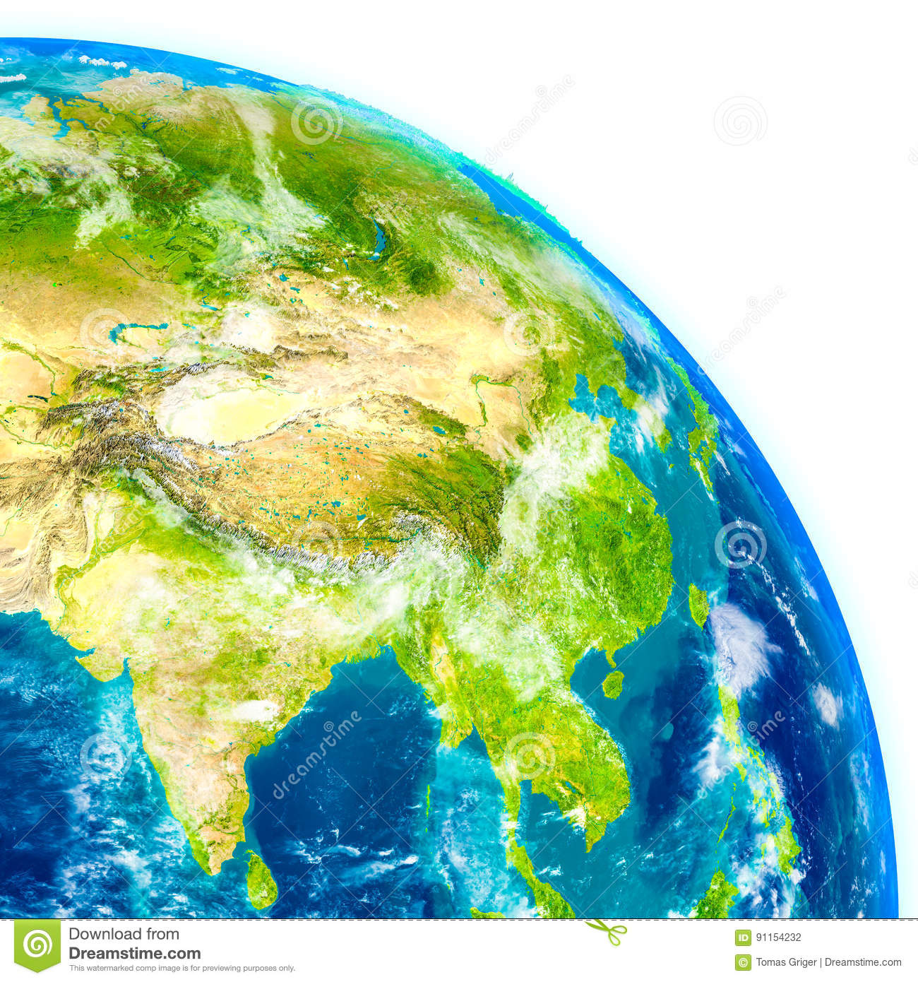 Southeast Asia On Physical Globe Stock Illustration ...