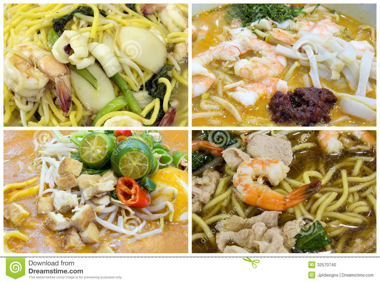 Southeast asian singapore noodles dishes collage stock for Aja east asia cuisine