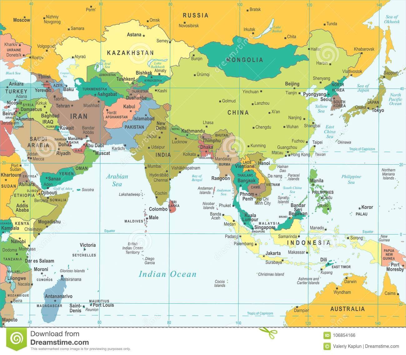 Southern Asia Map - Vector Illustration Stock Illustration ...
