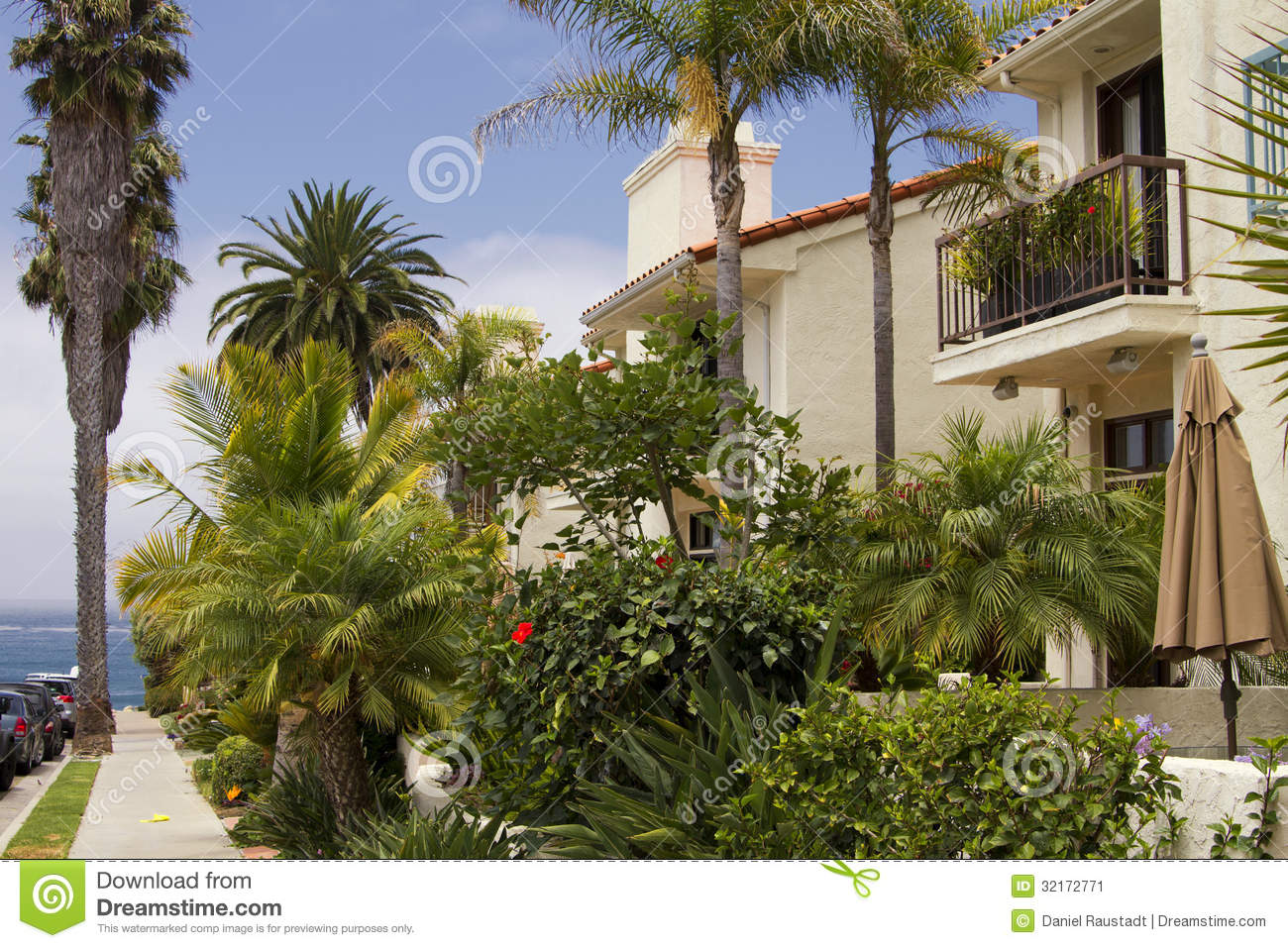 Southern California Ocean Beach Homes Stock Image - Image of
