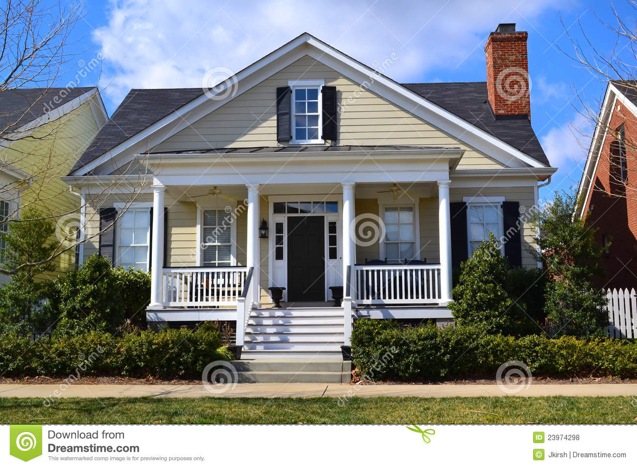 Southern Cape Cod Style Dream Home Stock Photo Image