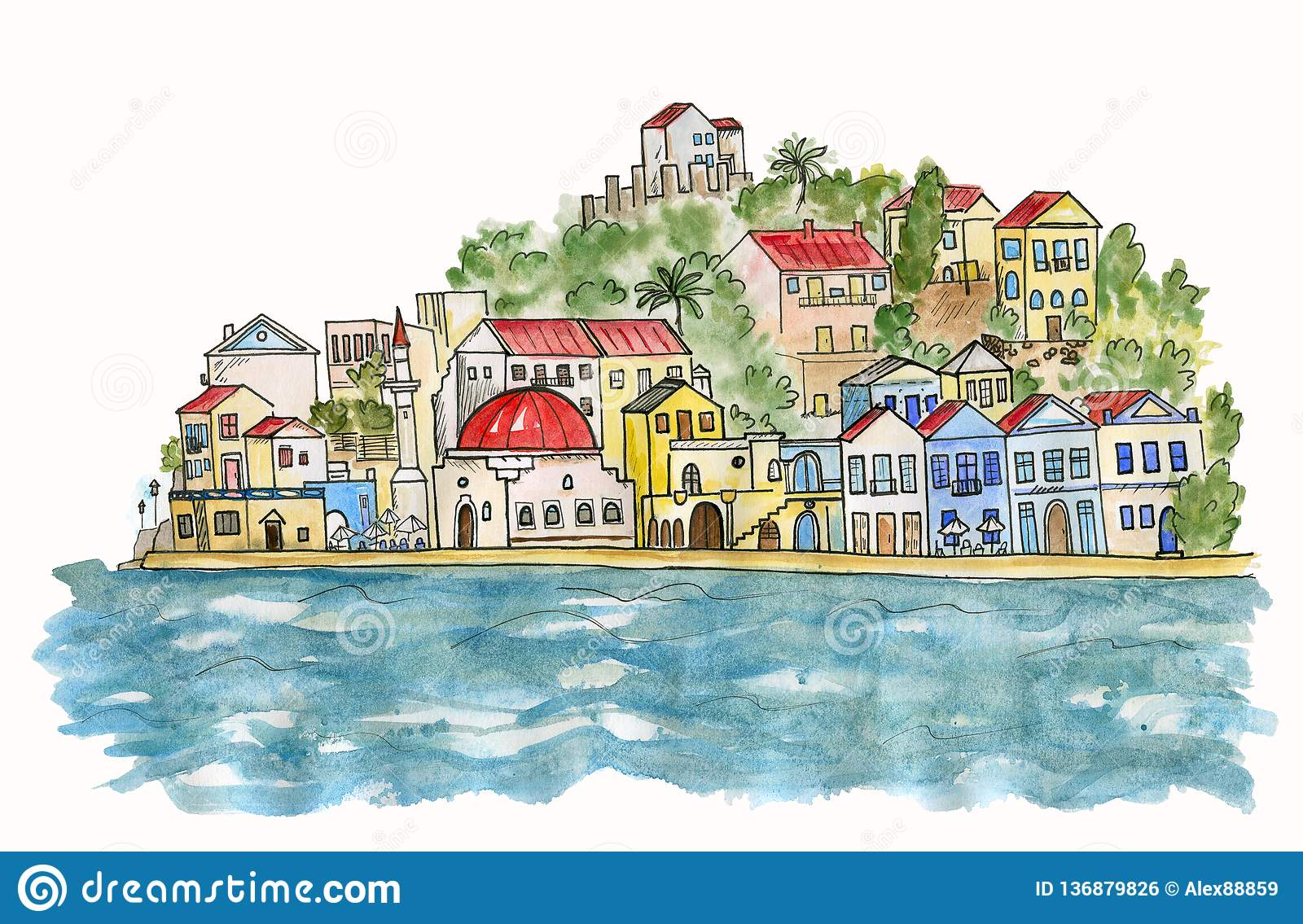 Southern city by the sea. Watercolor illustration.
