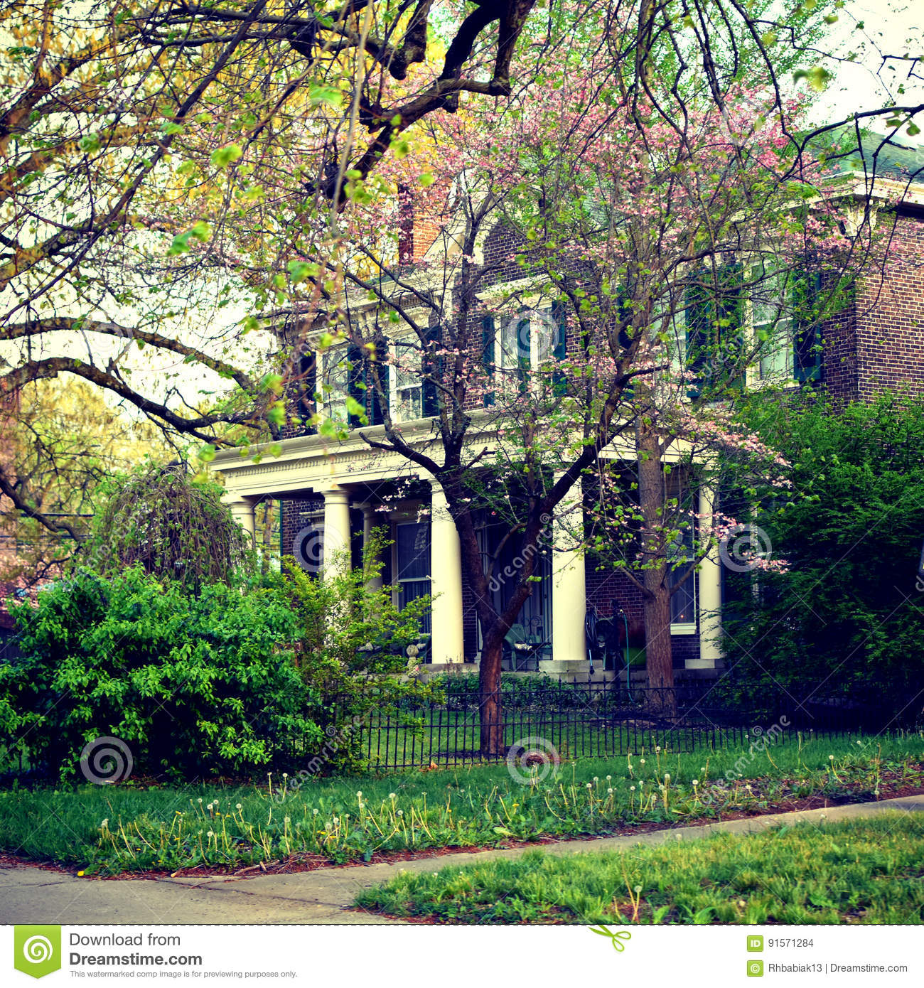 Front Porch Of Yellow House Stock Photo: Southern Colonial Brick House Stock Photo