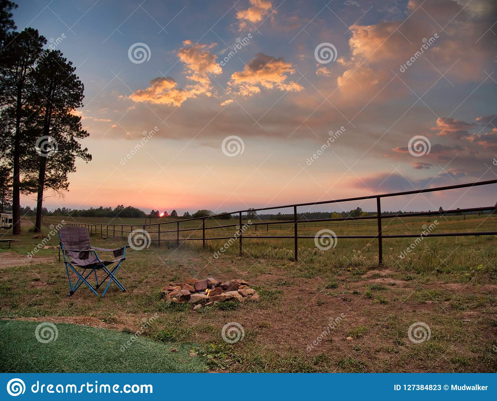 Echo Basin Ranch Campfire At Sunset Stock Image - Image of