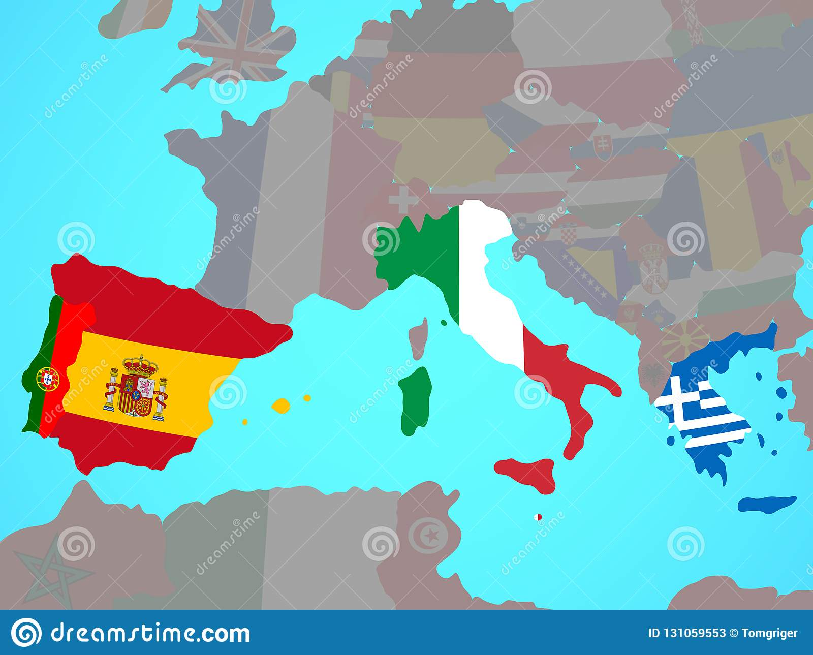 Southern Europe With Flags On Map Stock Illustration ...