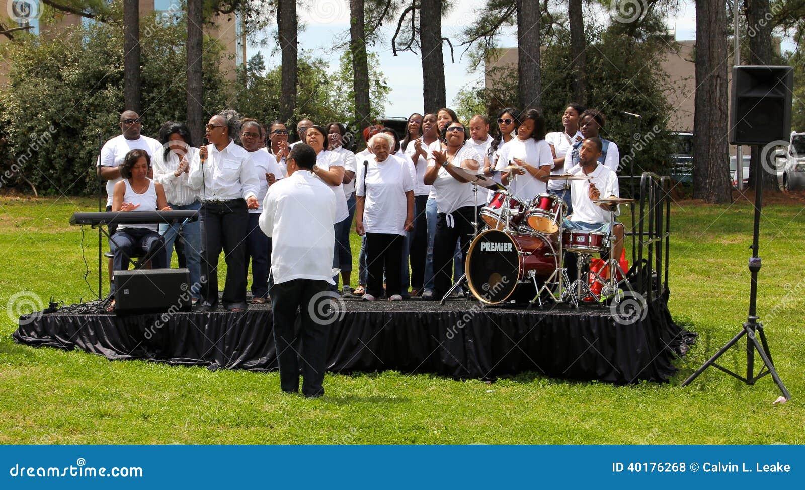 Gospel Choir Performing Outside in Concert