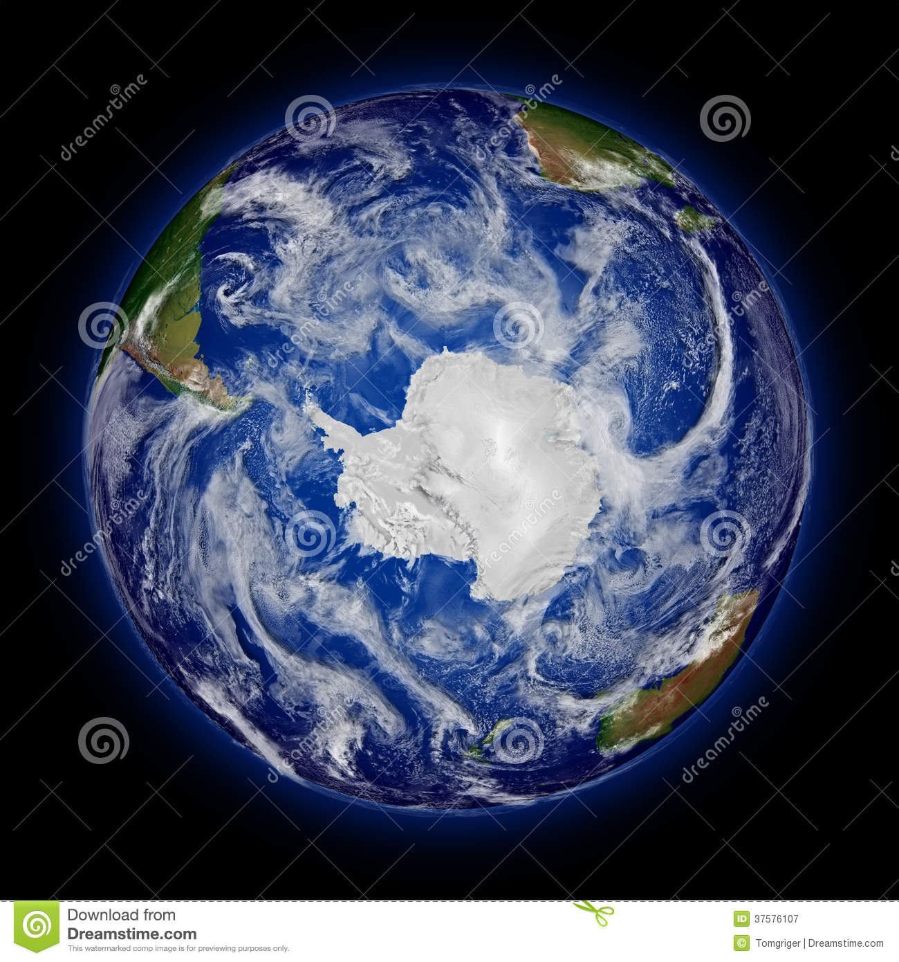 Antarctica on blue planet Earth isolated on black background. Highly ...