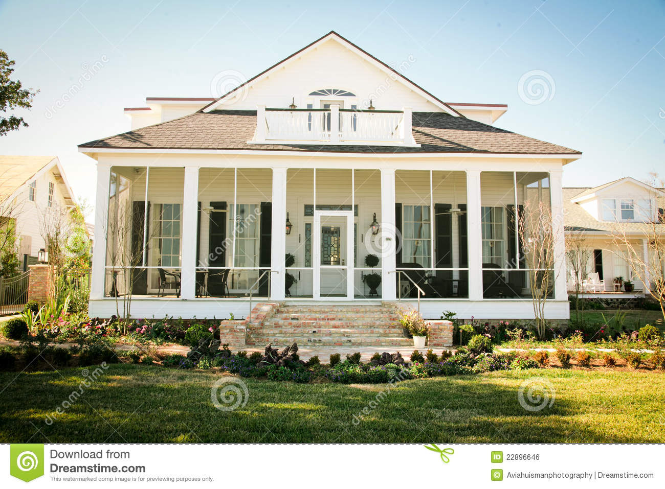 Southern Style Suburban American Home Stock Photo Image