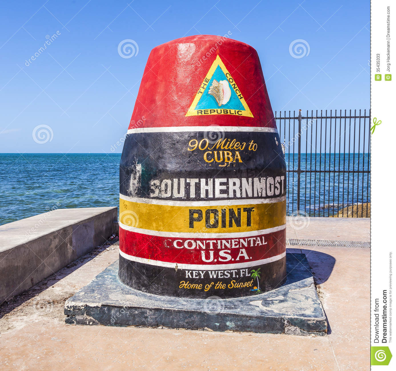 Southernmost Point In Key West, Florida, USA Stock Photos