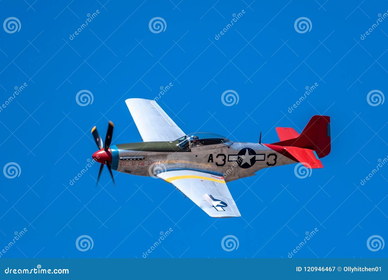 SOUTHPORT, R-U LE 8 JUILLET 2018 : Une photographie documentant P-51 Mustan
