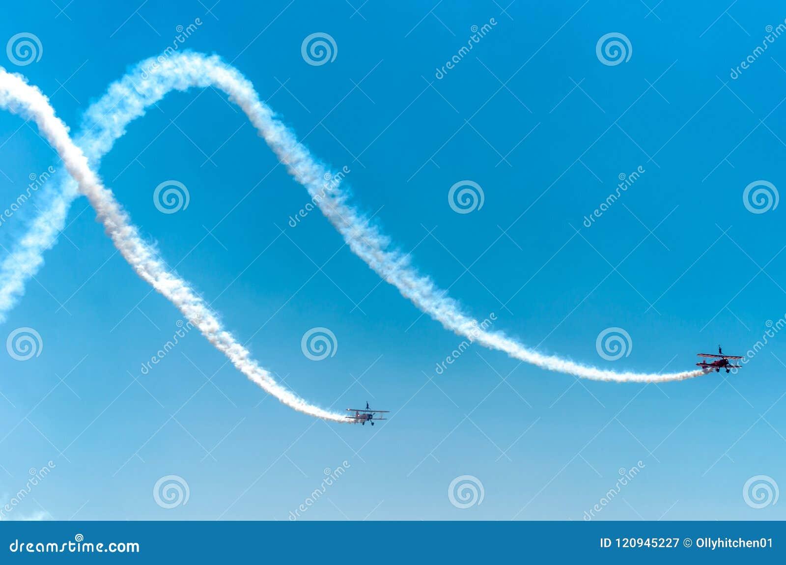 SOUTHPORT, UK JULY 8 2018: Two world famous Aerosuperbatics Wing