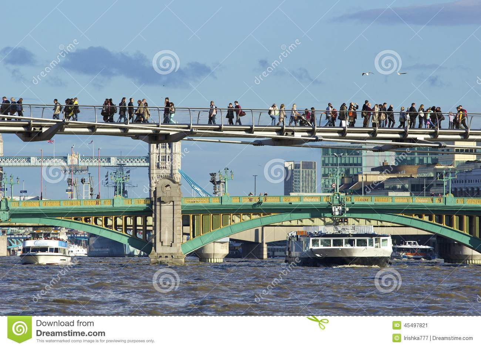 Southwark桥梁和千年桥梁,伦敦