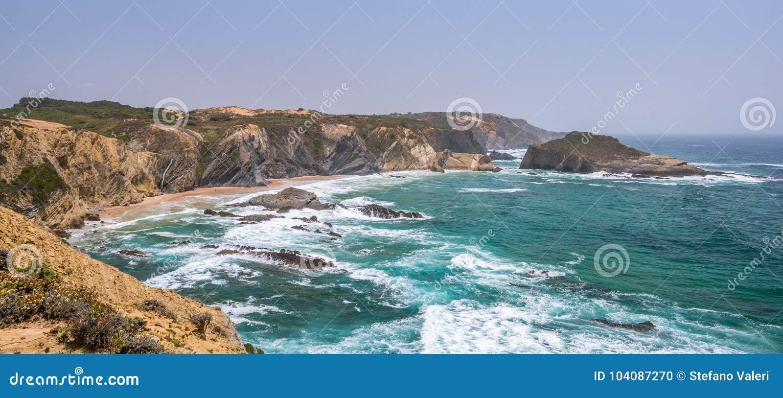 Scenic seascape of Praia dos Alteirinhos, near Zambujeira do Mar, Costa Vicentina, Portugal
