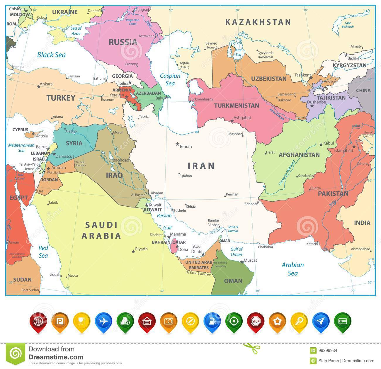 Southwest Asia Map And Map Markers Isolated On White Stock Vector ...