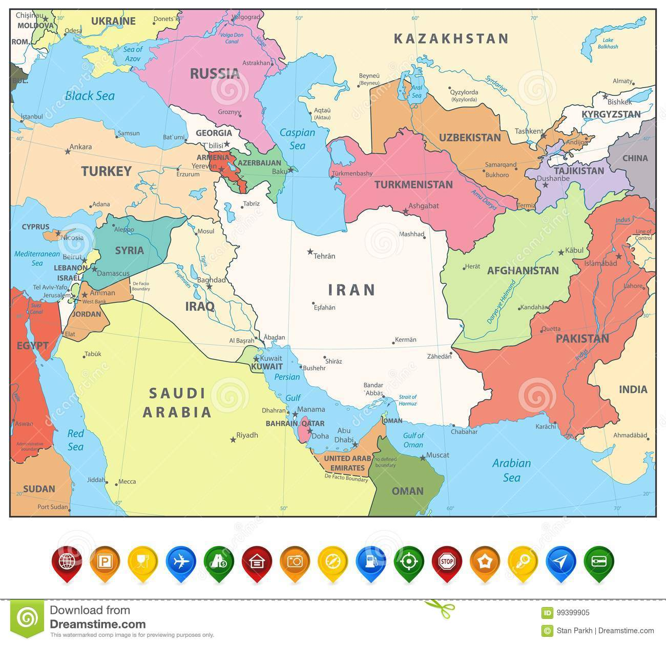 Southwest Asia Map And Map Markers Stock Vector