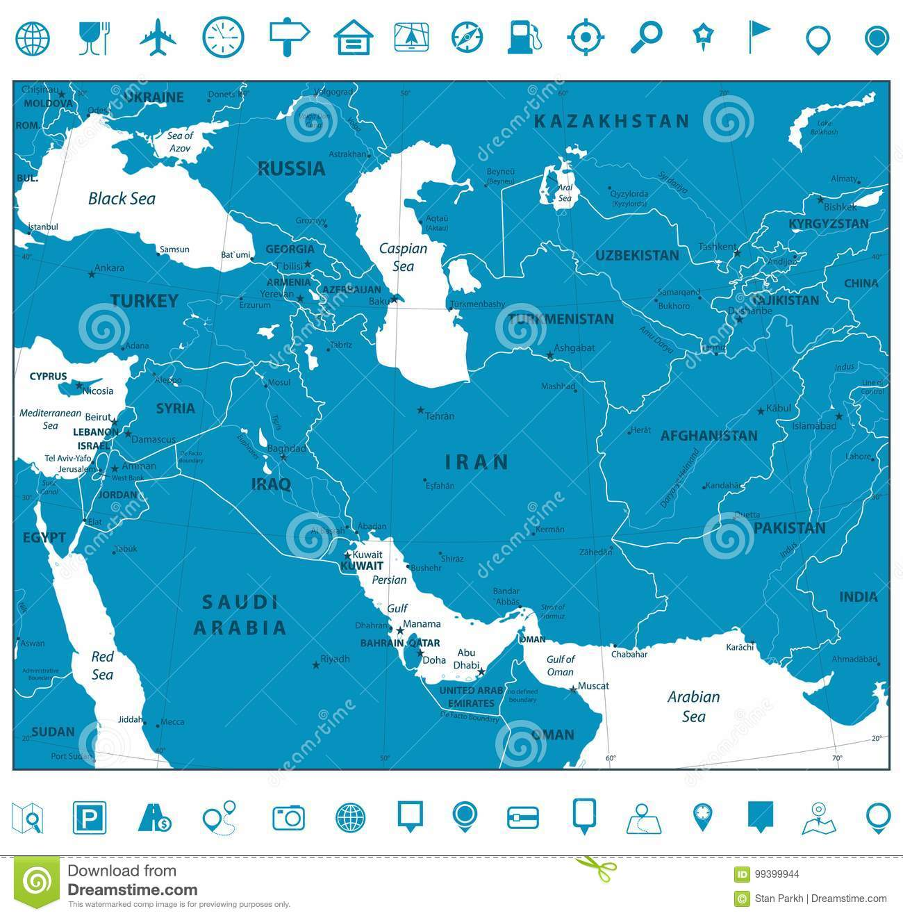 Southwest Asia Map And Navigation Icons Stock Vector - Illustration ...