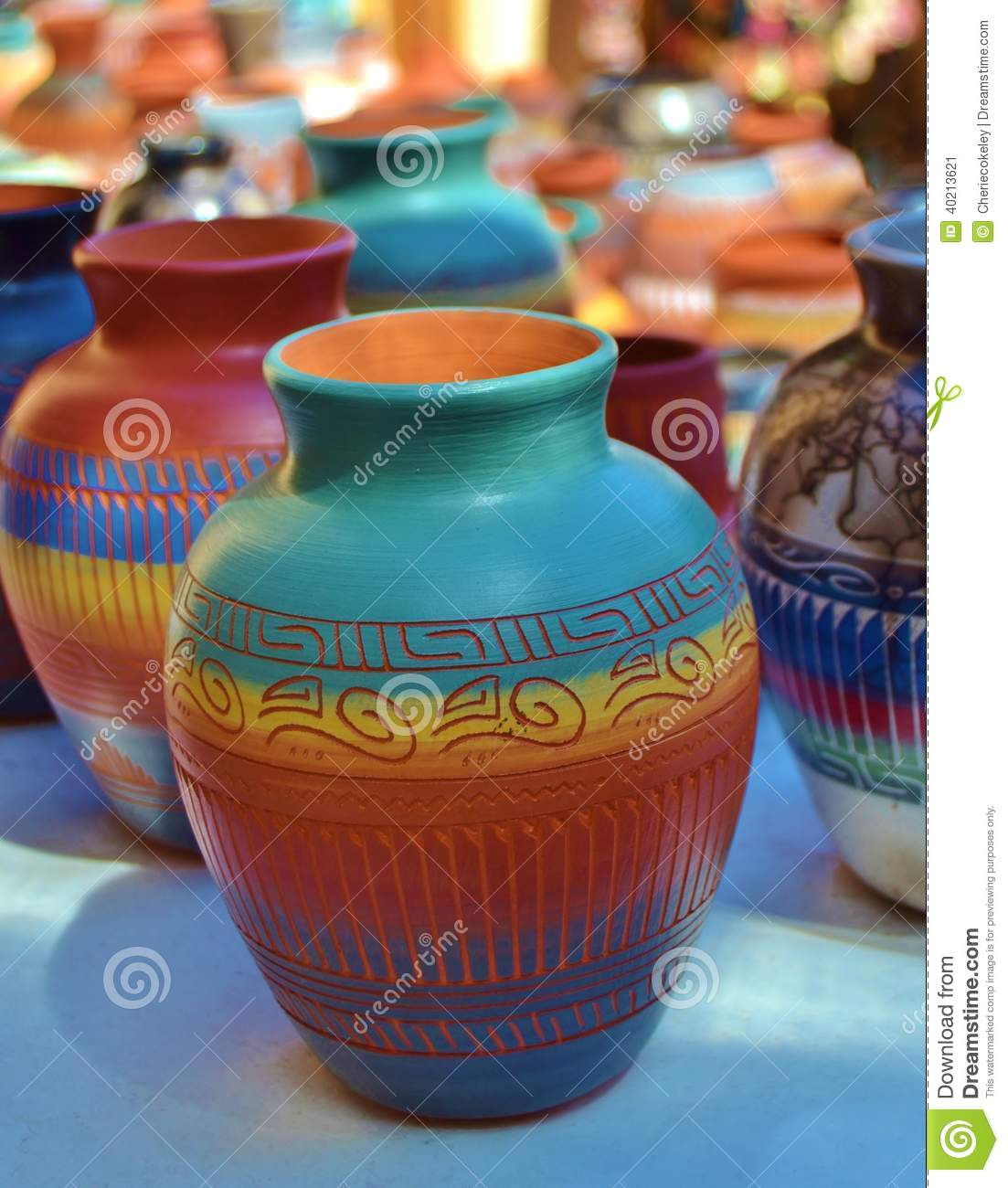 Southwest colorful ceramic and clay pottery stock image for Pottery designs with clay
