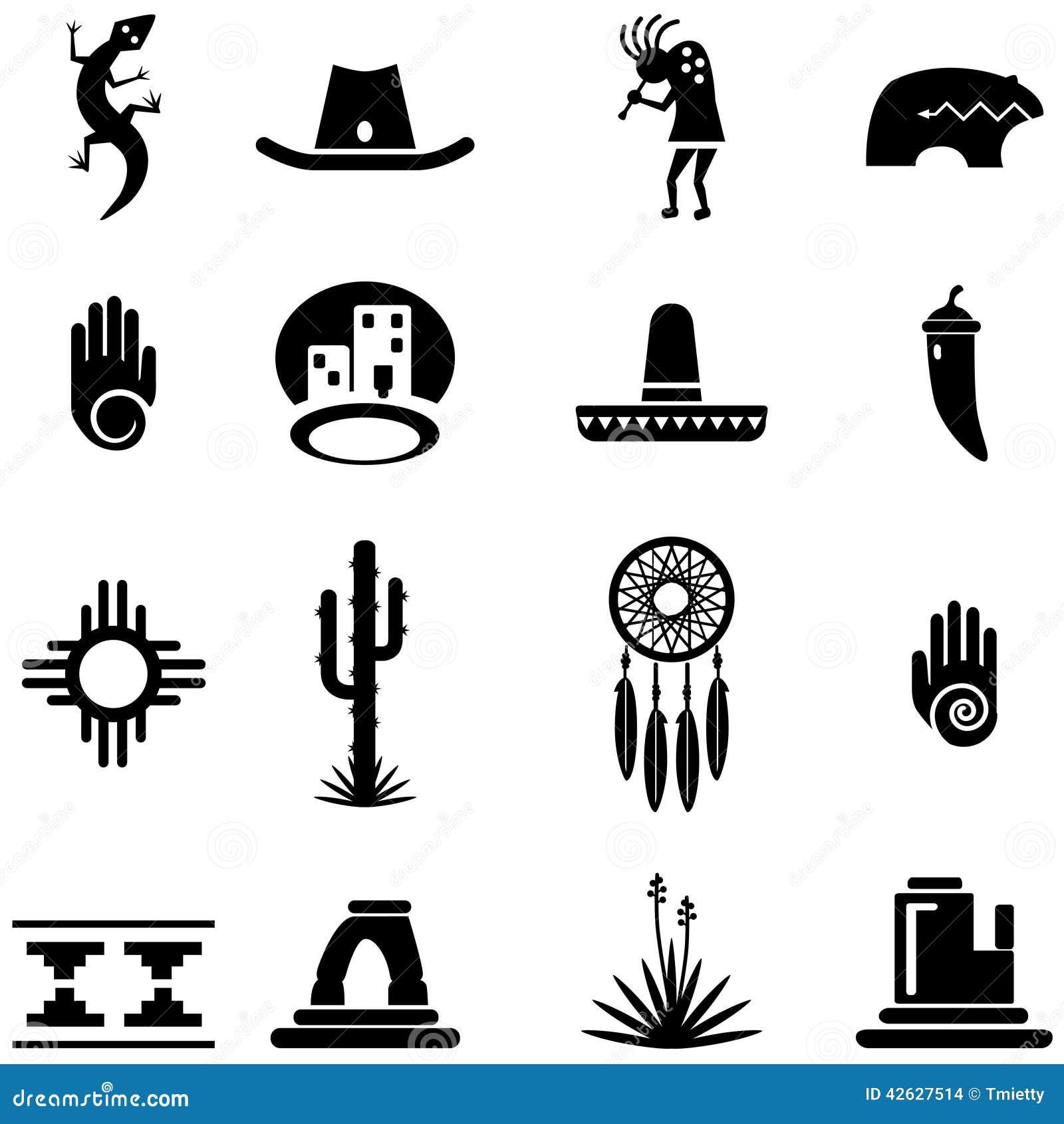 southwest desert icon illustrations stock vector