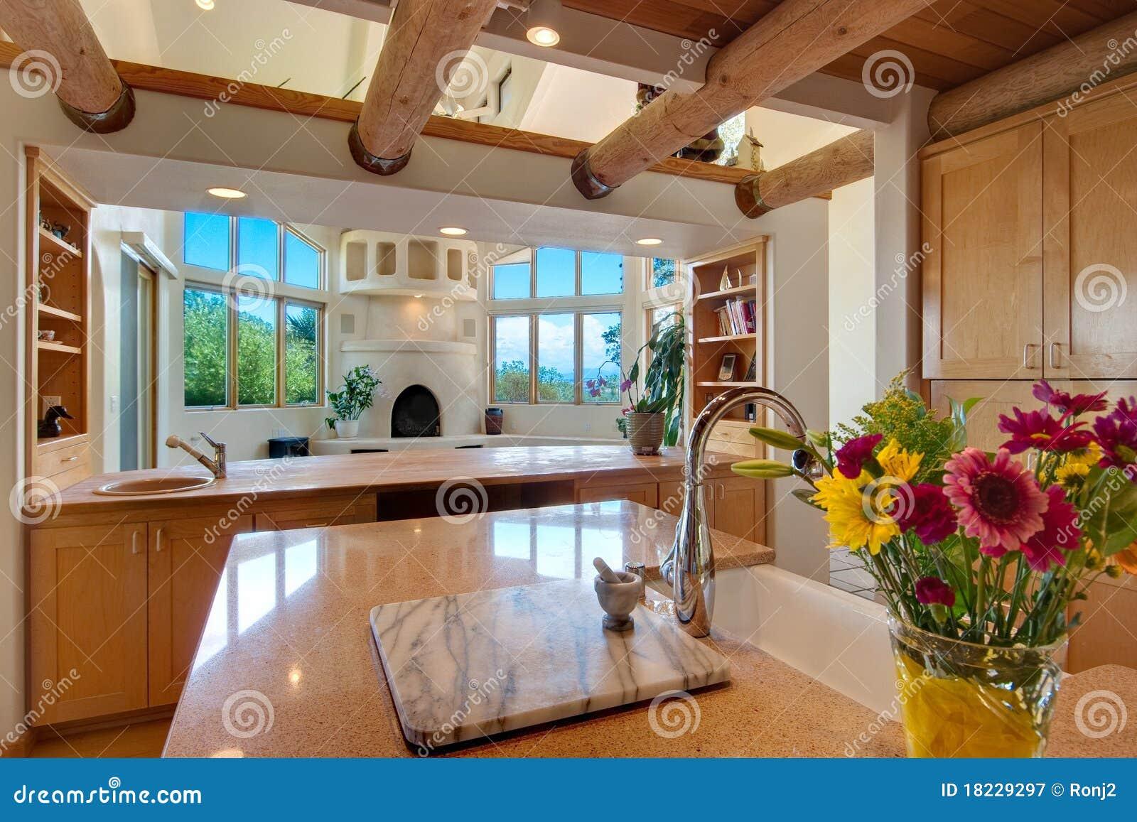 Southwest Style Kitchen Stock Image Image Of Lighting