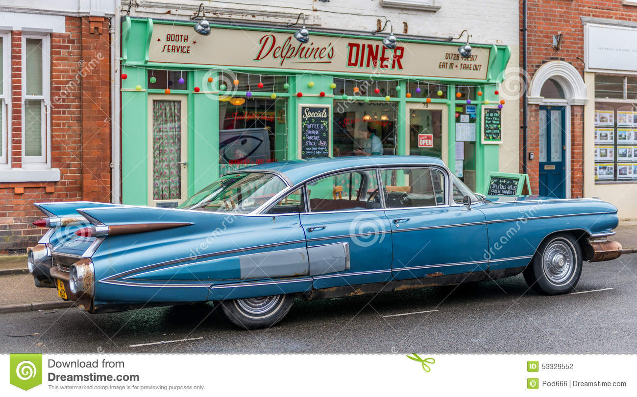 Southwold Suffolk 1950s Diner And Car Editorial Photography - Image