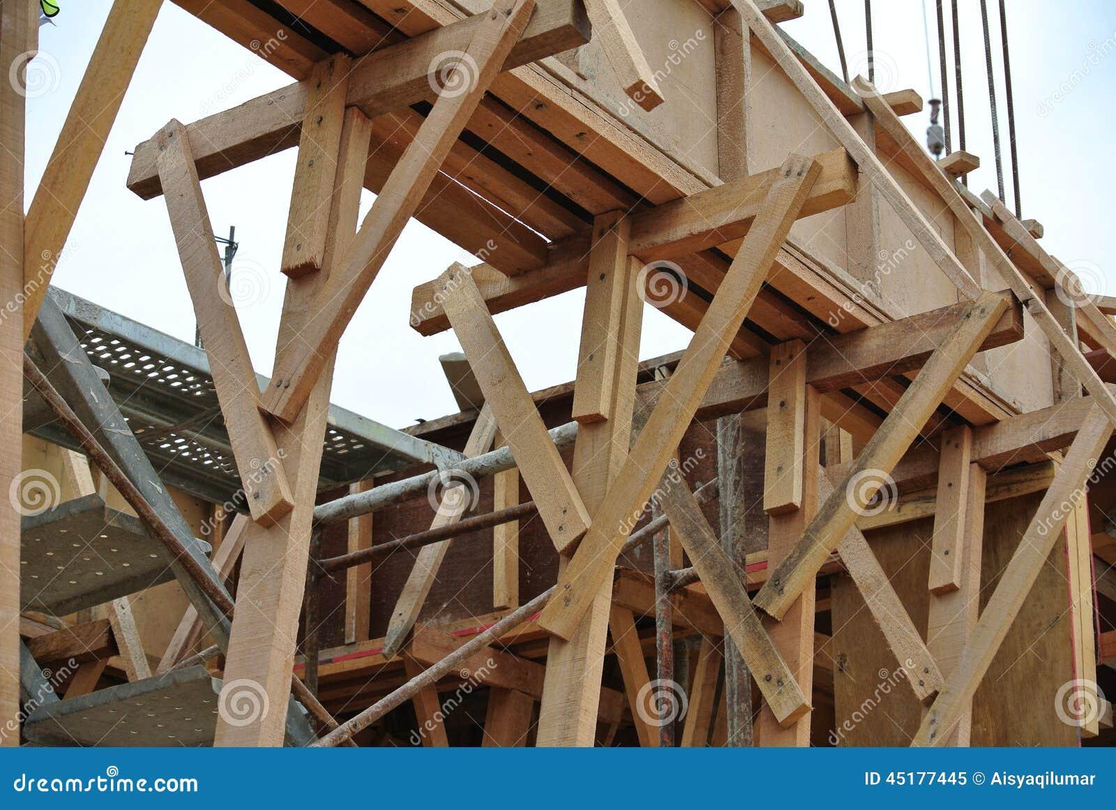 Soutien de bois de construction de coffrage de faisceau de bois de construction image stock for Construction en bois var