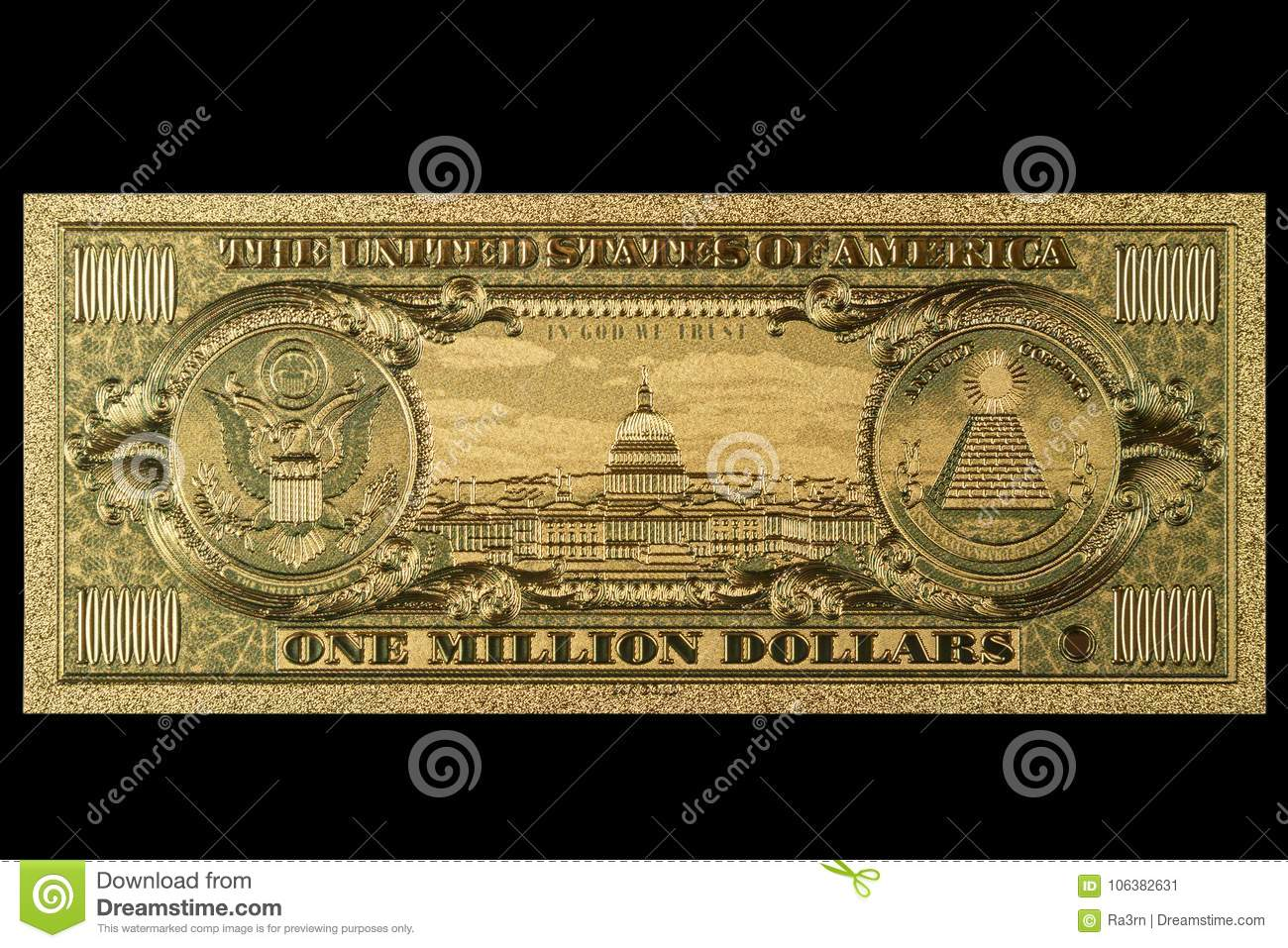 Souvenir American Gold Banknote 1 Million Dollars Stock Image