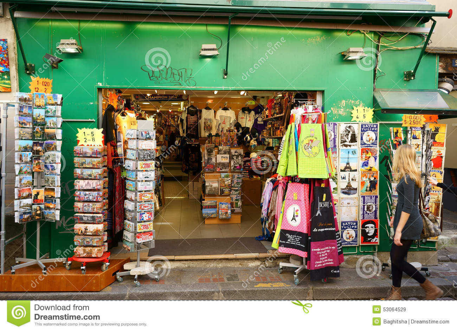 souvenir boutique in montmartre editorial stock image image 53064529. Black Bedroom Furniture Sets. Home Design Ideas