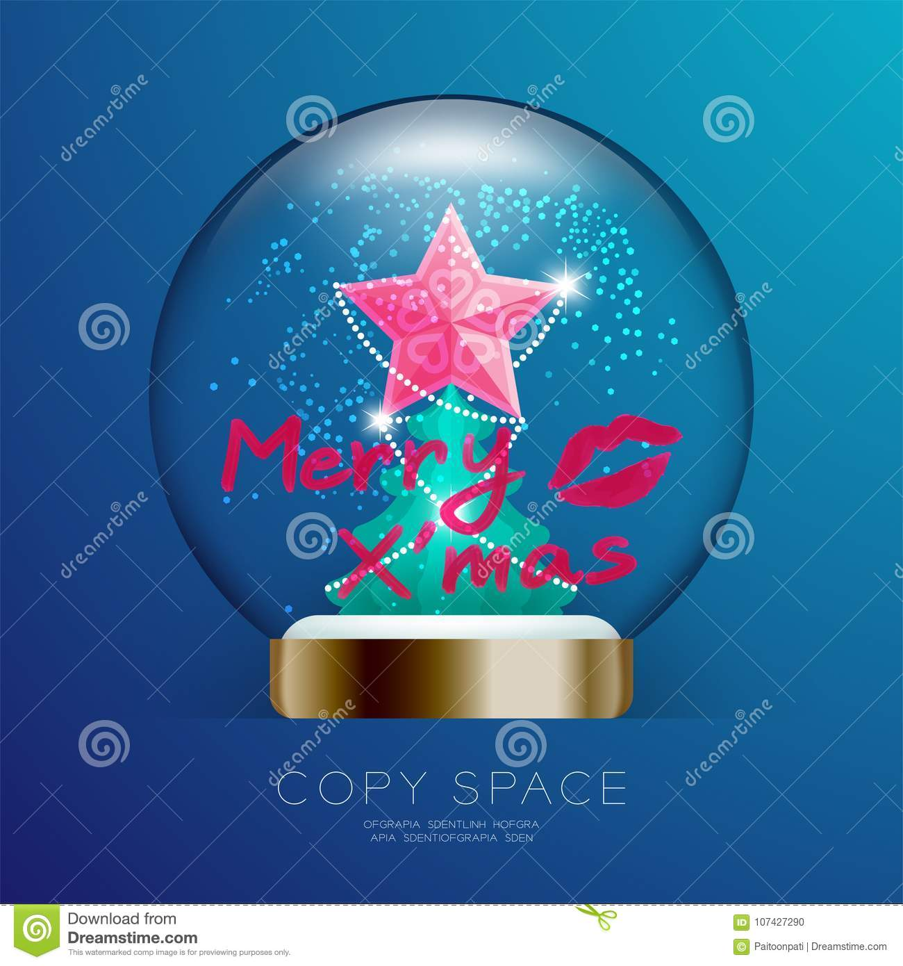 Souvenir Christmas Snowball Glass glitter with pink star, merry xmas text write by lipstick and kisses set illustration