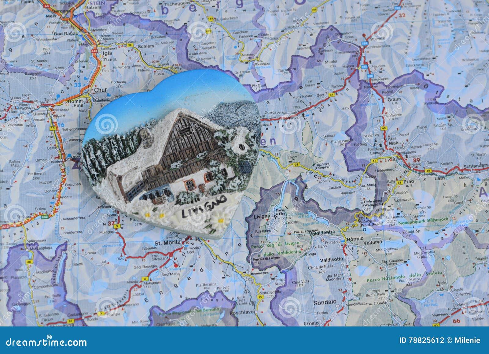 Livigno Italy Map.Souvenir From Italy Livigno Stock Photo Image Of Decorative Alps