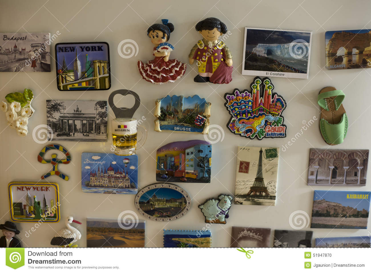 Souvenir Magnets Sticked On The Fridge Of Home Editorial