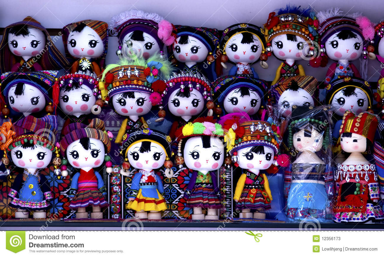 Miniature dolls in traditional costumes from Yunnan, China.