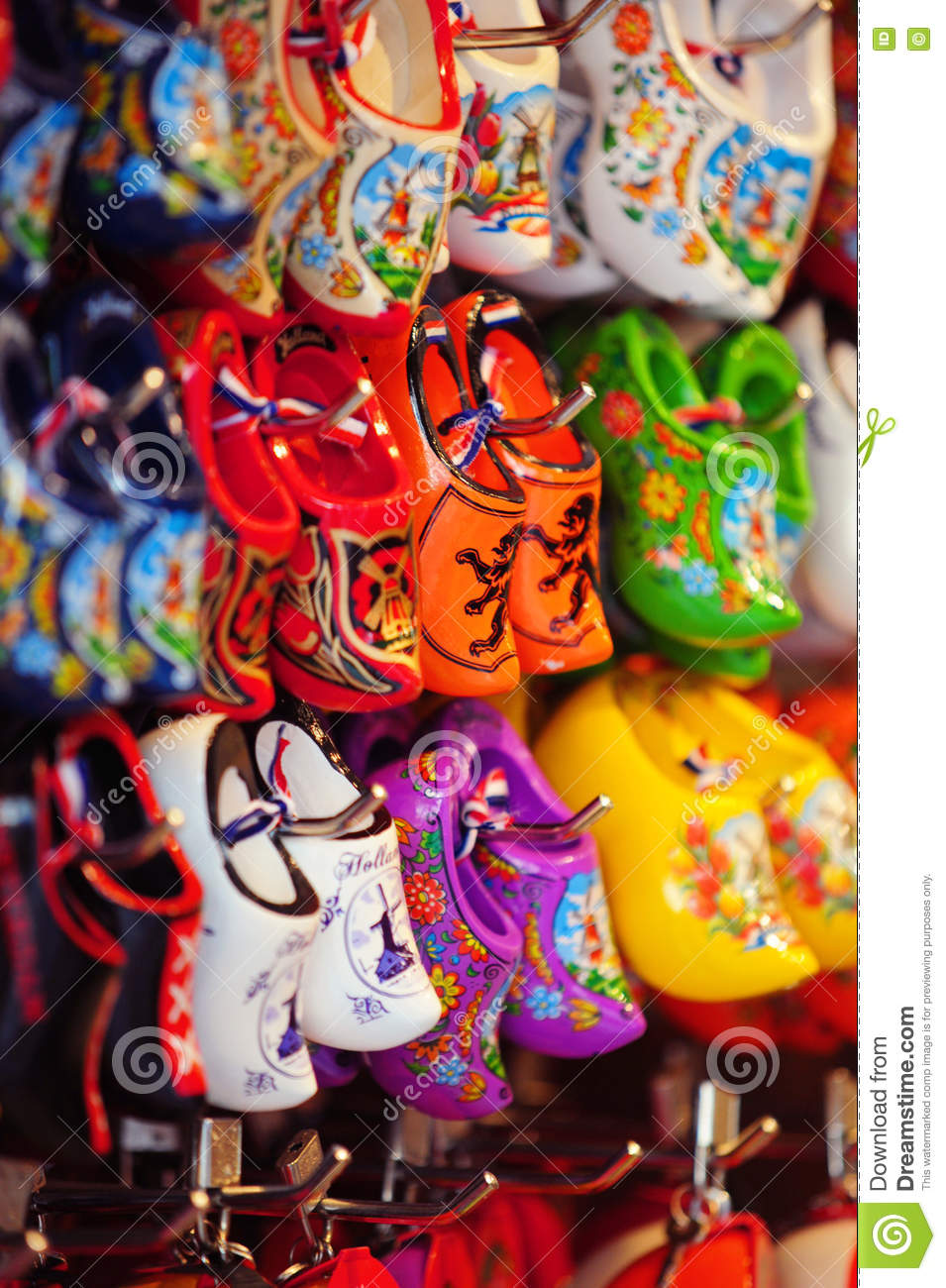 souvenir shop display with colorful dutch wooden shoes stock photo