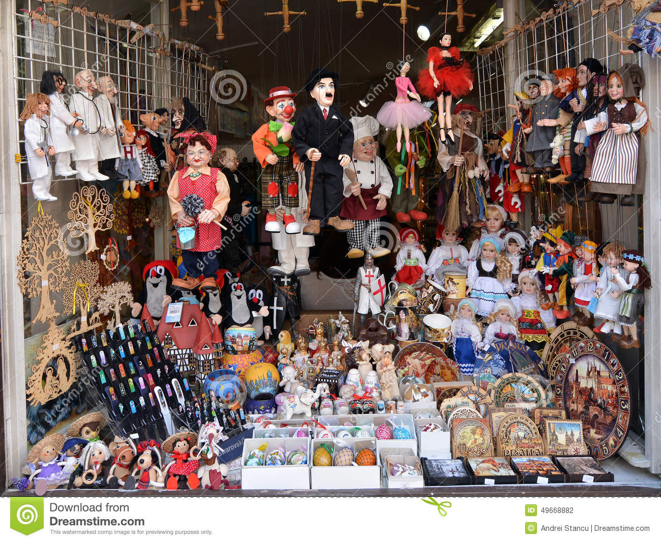 Souvenir shop in Prague editorial photography. Image of ...