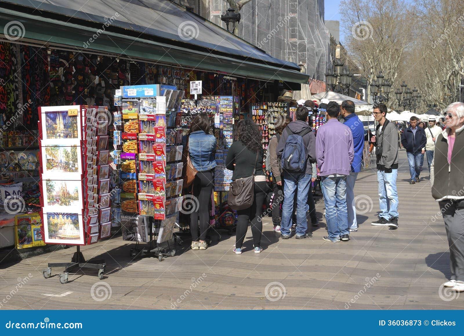 Souvenir Stall On La Rambla. Barcelona. Spain Editorial Stock Photo - Image: ...