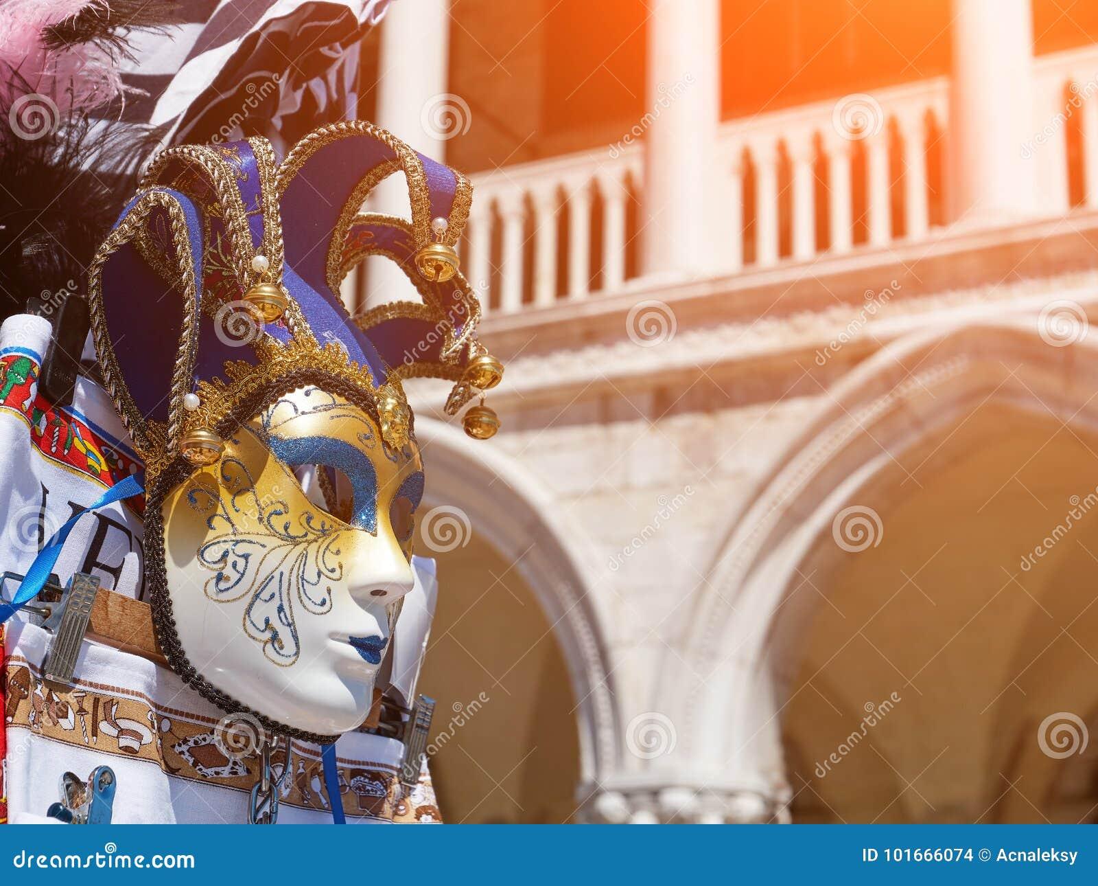 Souvenirs, Venetian Mask On Square San Marco In Venice Stock